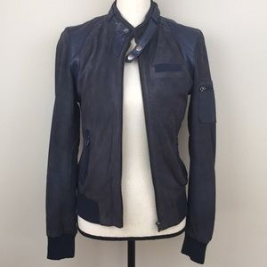 MEMBERS ONLY Navy Blue Mixed Leather Jacket